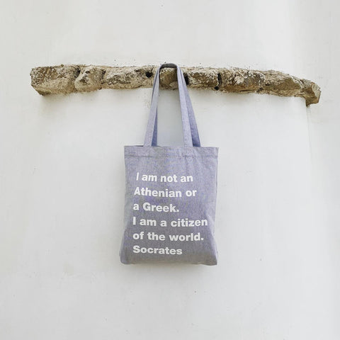 Citizen of the world grey  canvas tote bag