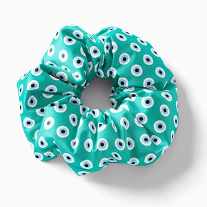 Mint Evil Eye scrunchie