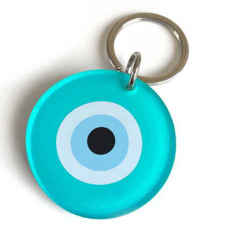 Mint Evil Eye Key Ring