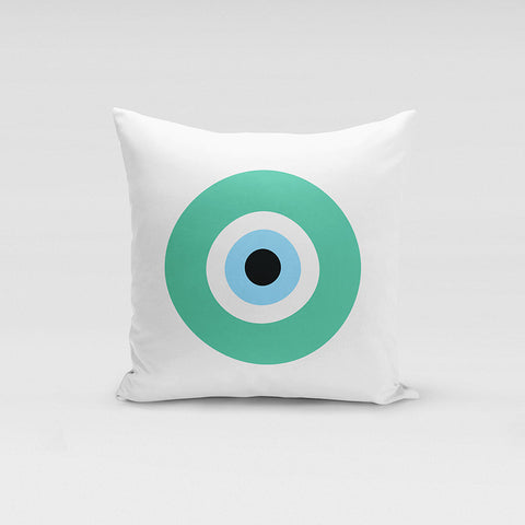 Teal Evil Eye Pillow