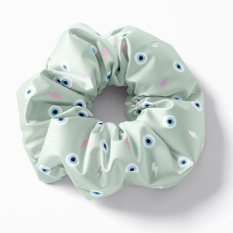 Mint thunder Evil Eye scrunchie