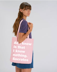 All I know pink canvas tote bag