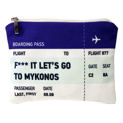 Let's go to Mykonos ticket bag