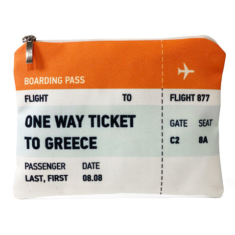 One way ticket to Greece ticket bag