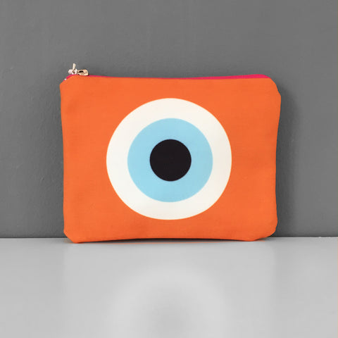 Orange Evil Eye coin purse