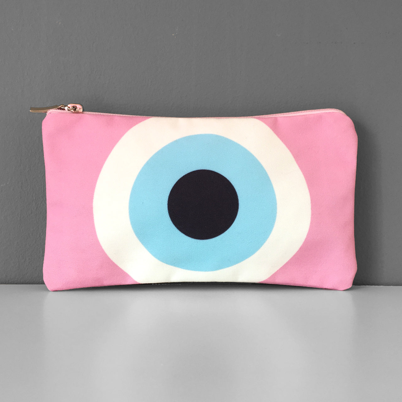 Pink Evil Eye cosmetic bag