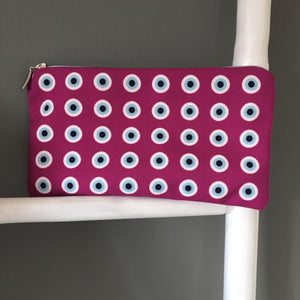 The Plum Evil eye pattern cosmetic bag