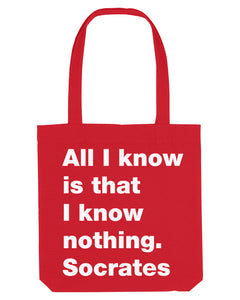All I know red canvas tote bag