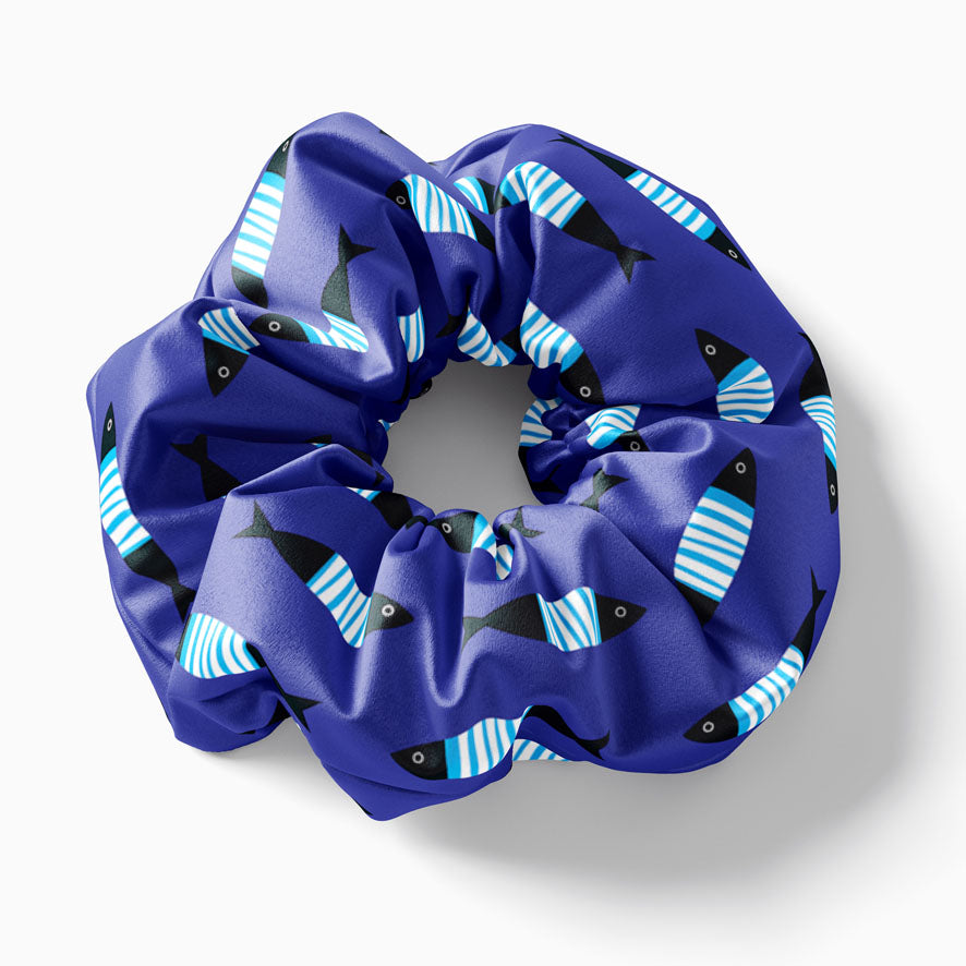 Blue Sardines scrunchie