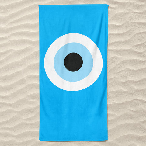 Turquoise Evil Eye Beach Towel