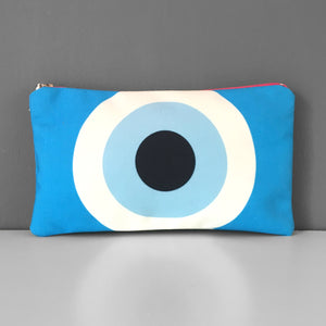 Turquoise Evil Eye cosmetic bag