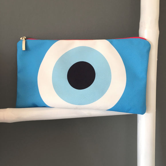 The Turquoise Evil eye cosmetic bag