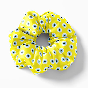 Yellow Evil Eye scrunchie