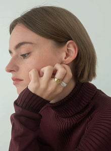 STAMP RING-18K GOLD PLATED