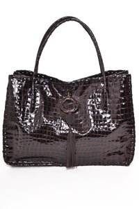 CARLA Brown Patent croco