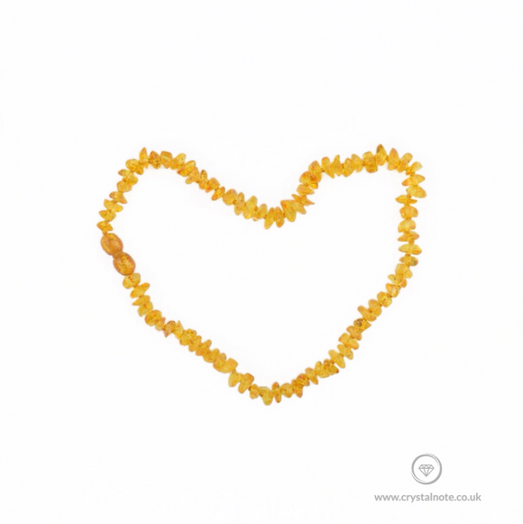 Amber Chip Baby Necklace For Teething Crystal Note