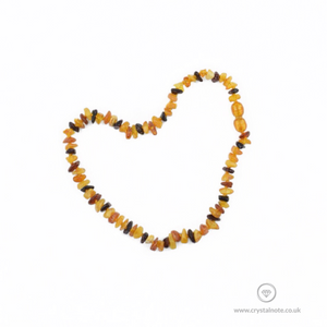 Amber Chip Baby Necklace Multi-Coloured Crystal Note