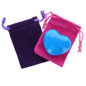 Blue Howlite Gemstone Heart Large in a Pouch