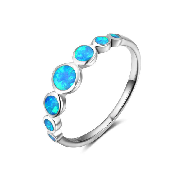 Pure 925 Sterling Silver Blue Opal Ring | FREE SHIPPING