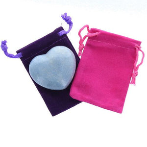 Blue Quartz Gemstone Heart Large in a Pouch