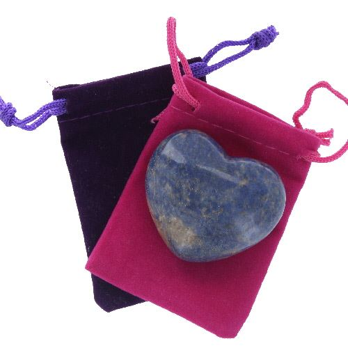 Dumortierite Gemstone Heart Large in a Pouch