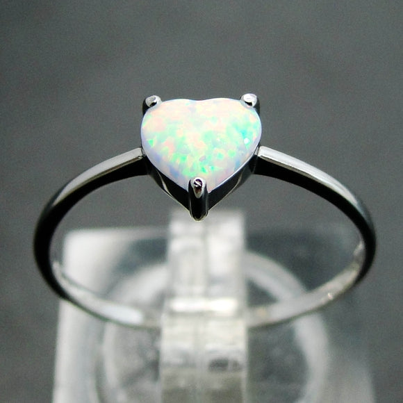 Heart 925 Sterling Silver Fire Opal Ring | FREE SHIPPING