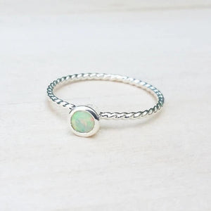 Delicate 925 Sterling Silver White Fire Opal Ring | FREE SHIPPING