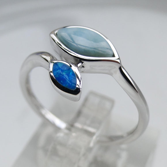 Fine Leaves Larimar and Blue Opal Ring 925 Sterling Silver | FREE SHIPPING