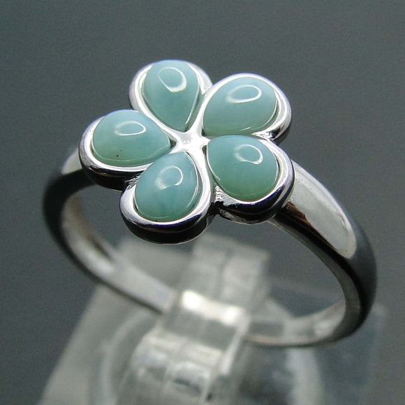 Vintage Flower Design Larimar Ring 925 Sterling Silver | FREE SHIPPING