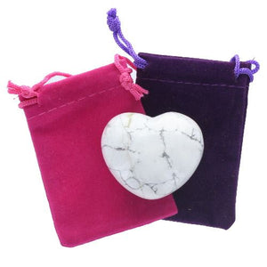 White Howlite Gemstone Heart Large in a Pouch