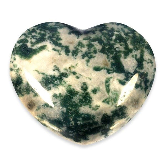 Moss Agate Gemstone Heart Large