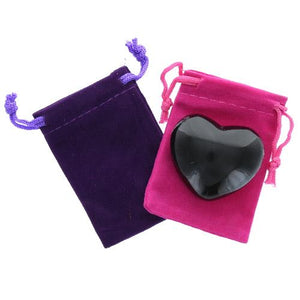 Obsidian Gemstone Heart Large in a Pouch