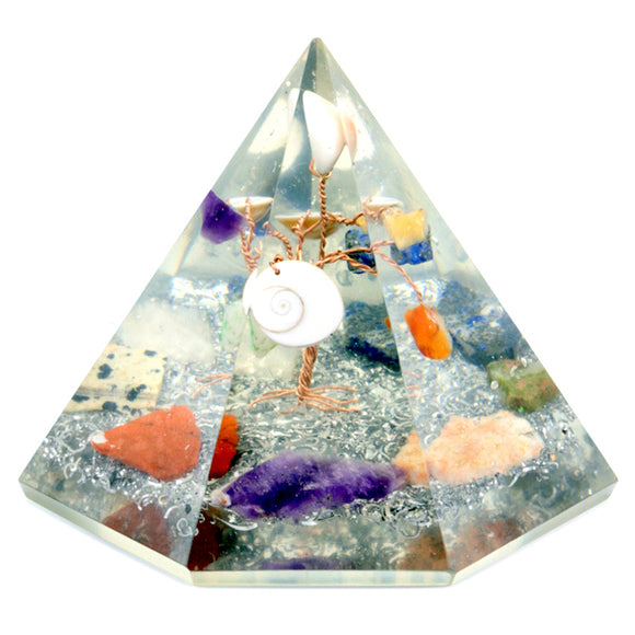 7 sided Orgonite Pyramid - Gemstone Wisdom Tree - 90 mm