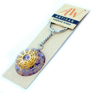 Orgonite Power Keyring - Amethyst Mandala Hearts