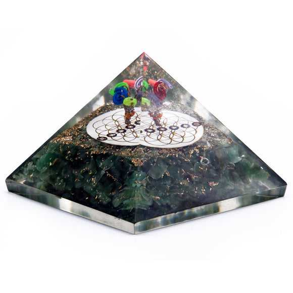Orgonite Pyramid - Green Aventurine and Flower of Life - 70 mm
