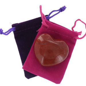 Poppy Jasper Gemstone Heart Large in a Pouch