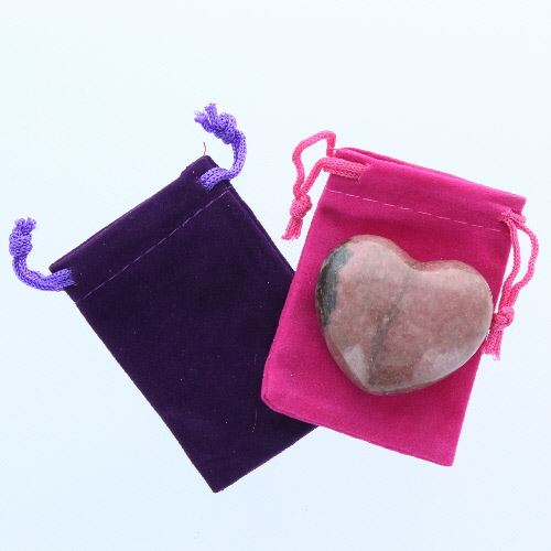 Rhodonite Gemstone Heart Large in a Pouch