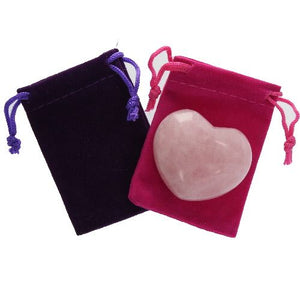Rose Quartz Gemstone Heart Large in a Pouch