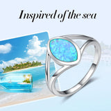 925 Sterling Silver Sea Inspired Opal Ring | FREE SHIPPING