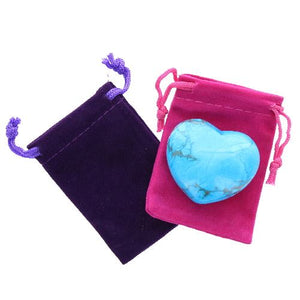 Turquoise Howlite Gemstone Heart Large in a Pouch