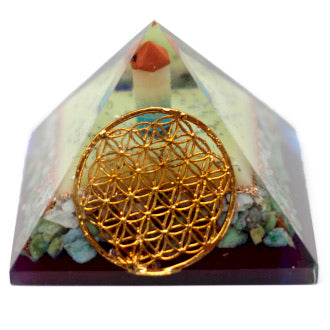 Large Orgonite Pyramid- Flower of Life symbol