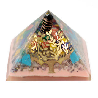 Large Orgonite Pyramid- Tree (earth base)