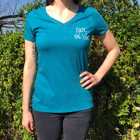 Teal Art of Life V Neck Tee