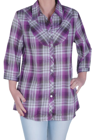 Checkered Roll Up Sleeve Plus Size Blouse