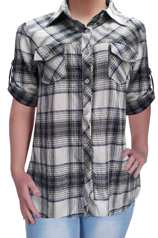 Womens Casual Checkered Blouse Ladies Check Shirt Top Sizes 10 - 28