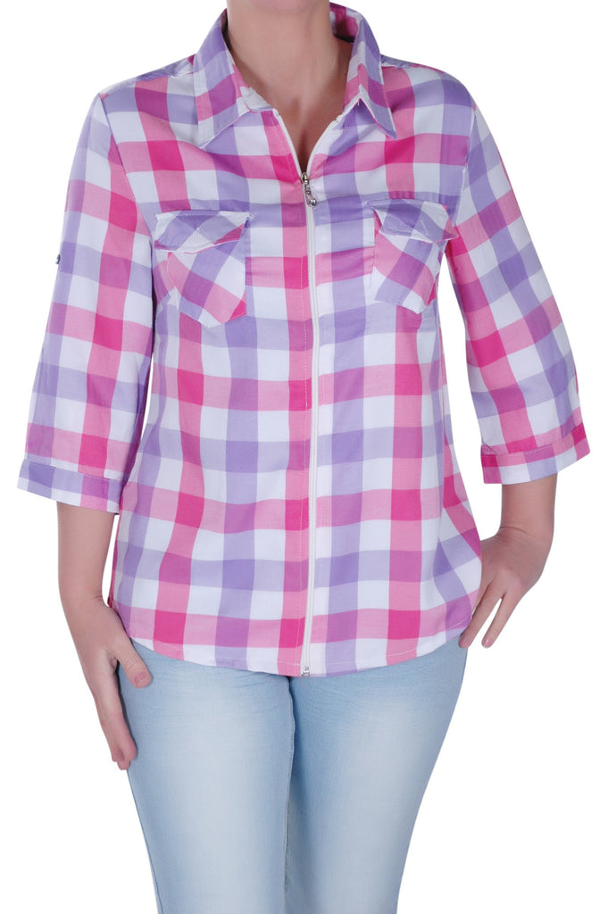 Zip Up Checkered Sleeve Plus Size Blouse
