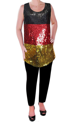 Eyecatch Womens German Deutschlands Sequin Vest Top Flag Black Red Gold