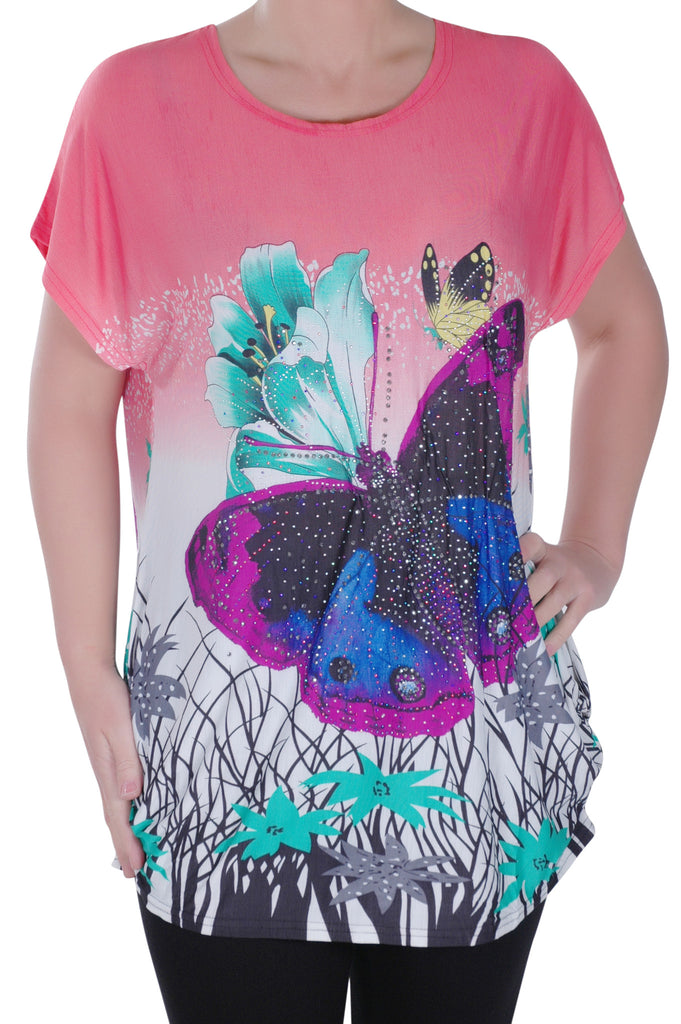 1Butterfly Print Tunic Top