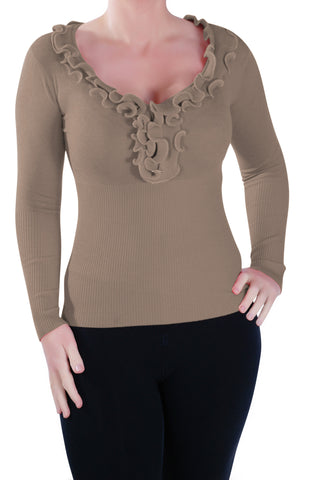 Classic Ruffle  Neck Fitted Pullover