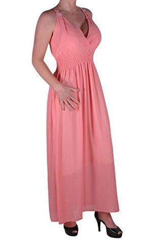 Cassie Chiffon Grecian Lace Back Long Dress